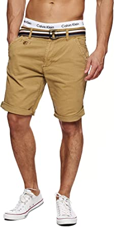 TALLA S. Indicode Caballero Cuba Pantalones Cortos Chinos con 5 Bolsillos y cinturón de 100% algodón | Más Corto Pantalón Regular Fit Bermudas Verano Men Pants Chino para Hombres