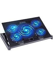 slopehill Ventilateur PC Portable, Refroidisseur Ordinateur Portable 10-17 Pouces Support de Montage Réglable avec 5 Ventilateurs et Lumière Bleu LED, 2 Ports USB 2.0