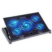 Base de Refrigeración para Portátiles y Netbooks , slopehill Refrigerador Base de Refrigeración Gaming con 5 Ventiladores Silenciosos para Ordenador Portátil de 10-17 pulgadas ,con LED Luz Azul, 2x USB 2.0 Puertos, Soporte de Montaje Adjustable