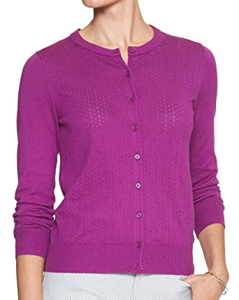 615f6499a4a Banana Republic Womens 333674 Forever Pointelle Knit Front Cardigan Sweater  Purple (Medium)