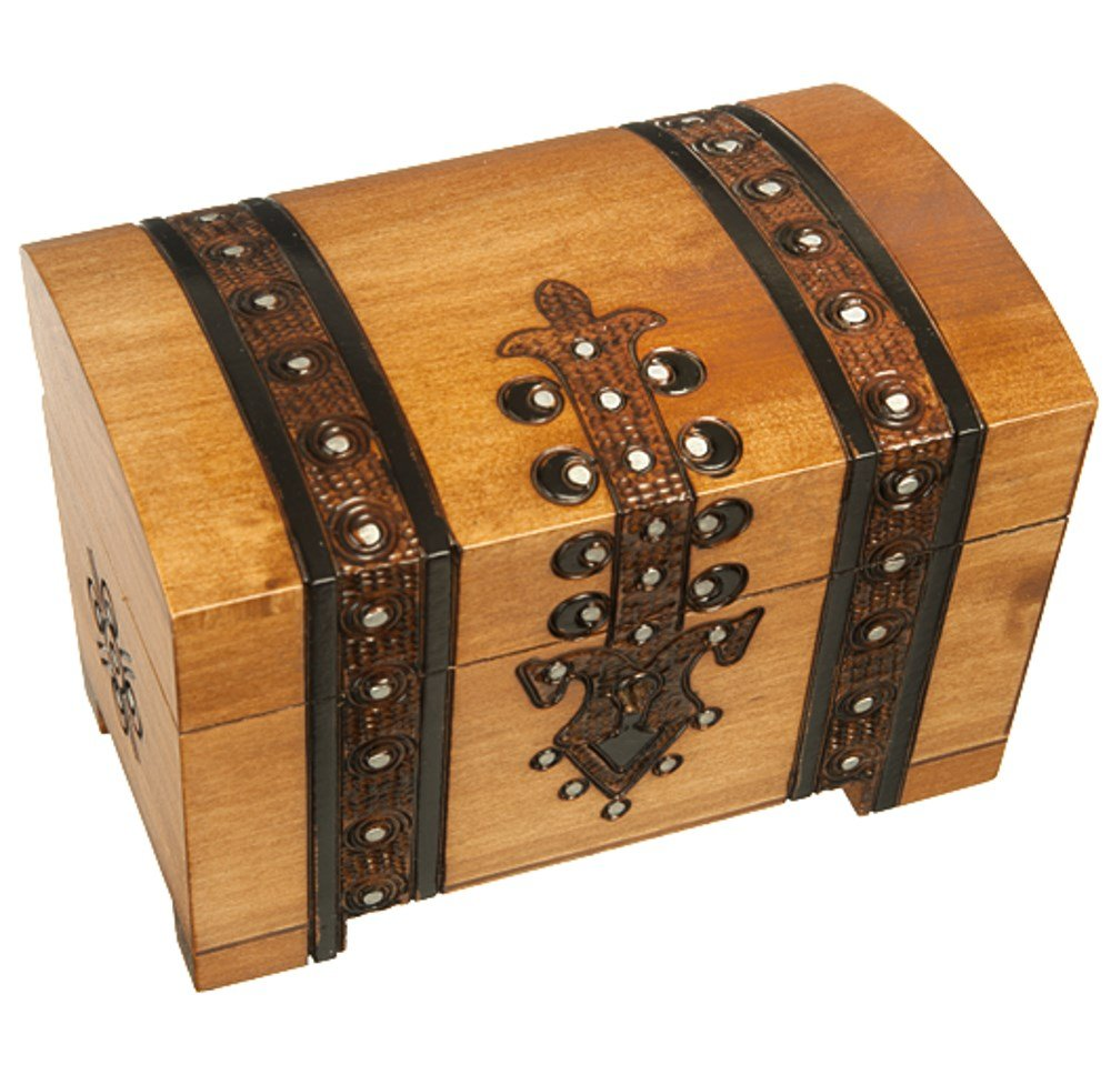 """or Perfect Gift Jewelry /& Keepsake Box for Men Impressive Decoration 5.5x3.5x3.5/"""" A Gorgeous Way to Stash Stuff Lock and Key Small Decorative Vintage Wooden Pirate Treasure Chest"""