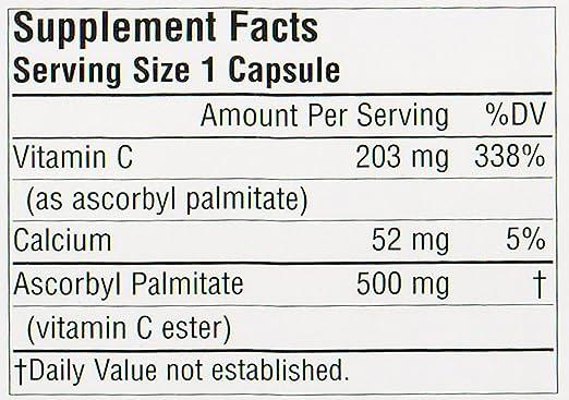 Source Naturals - éster de vitamina C liposoluble palmitato de ascorbilo 500 mg. - 180 cápsulas: Amazon.es: Salud y cuidado personal