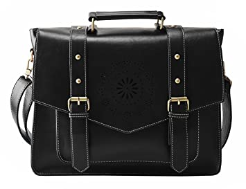 Amazon.com: ECOSUSI Women's PU Leather Laptop Bag Tote Messenger ...