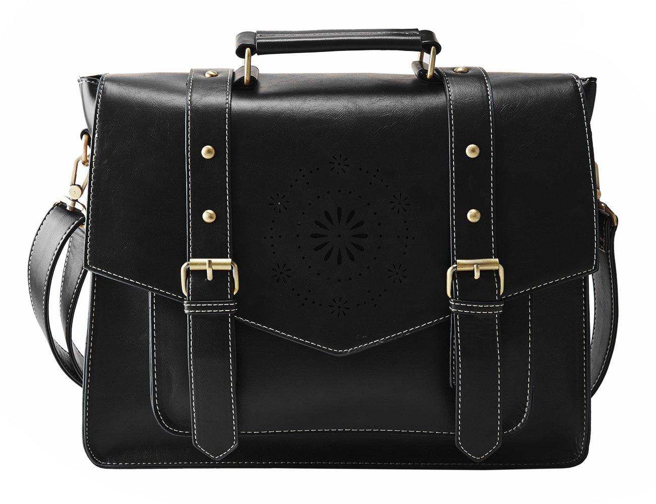 ECOSUSI Women's PU Leather Laptop Bag Tote Messenger Bag Crossbody BriefcaseFit 14'' Laptop, Black