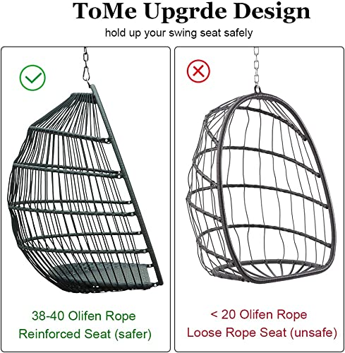 TOME Foldable Swing Chair with Stand, Rattan Wicker Hanging Egg Chair Hammock Chair with Cushion and Pillow for Indoor Outdoor Bedroom Patio Garden Light Gray