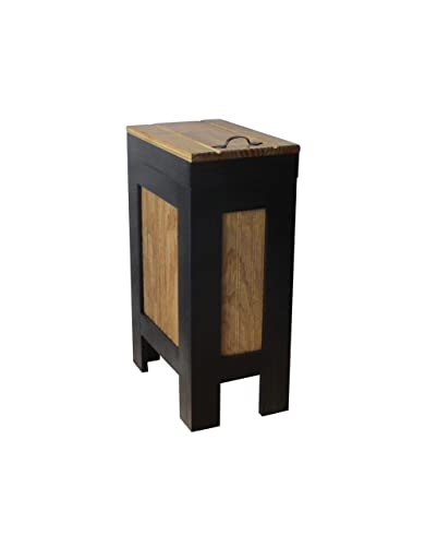 Rustic Wood Trash Bin Kitchen Trash Can Wood Trash Can Dog Food Storage 13 Gallon Recycle Bin Black Golden Oak Stain With Metal Handle