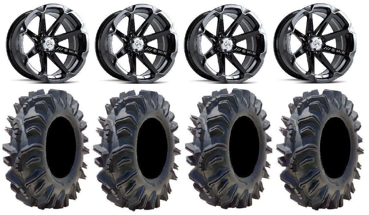 Bundle - 9 Items: MSA Black Diesel 15'' ATV Wheels 34'' Terminator Tires [4x137 Bolt Pattern 10mmx1.25 Lug Kit]