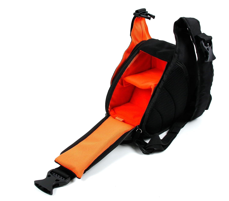 Petit sac à dos triangle pour appareil photo reflex Nikon D3200, D5300, D5500, D3200 et D3200 – Noir/Orange – Multi-poches et séparateurs – Par DURAGADGET
