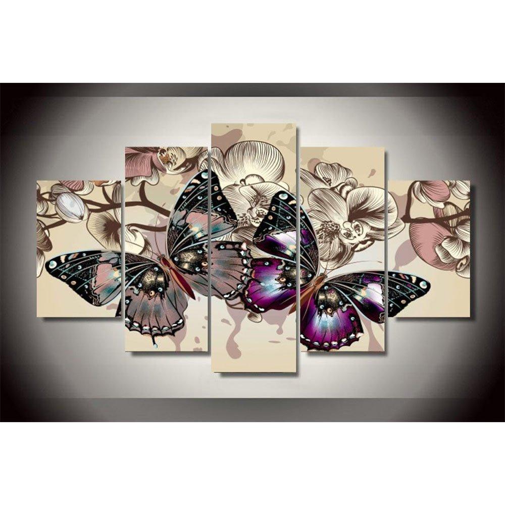5 Stück Set Schmetterlinge Wand Kunst Bilder für die private Dekoration der abstrakten Malerei Druck auf Leinwand Frische rote Blaume gerahmt, Größe 2, mit gerahmten B07CLB8CTS | Schön und charmant