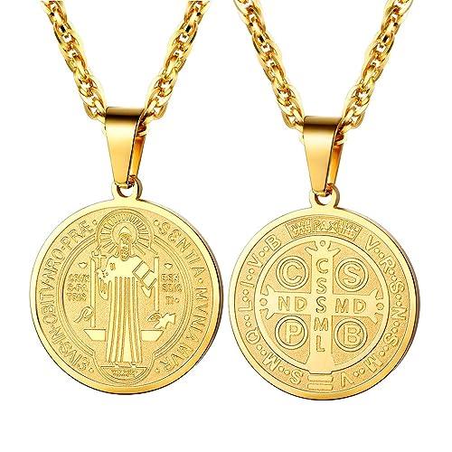 790c96f8514 PROSTEEL Saint Benedict Religious Cross Medal Pendant Necklace Catholic  Gift Vintage French Talisman Amulet 18K Gold