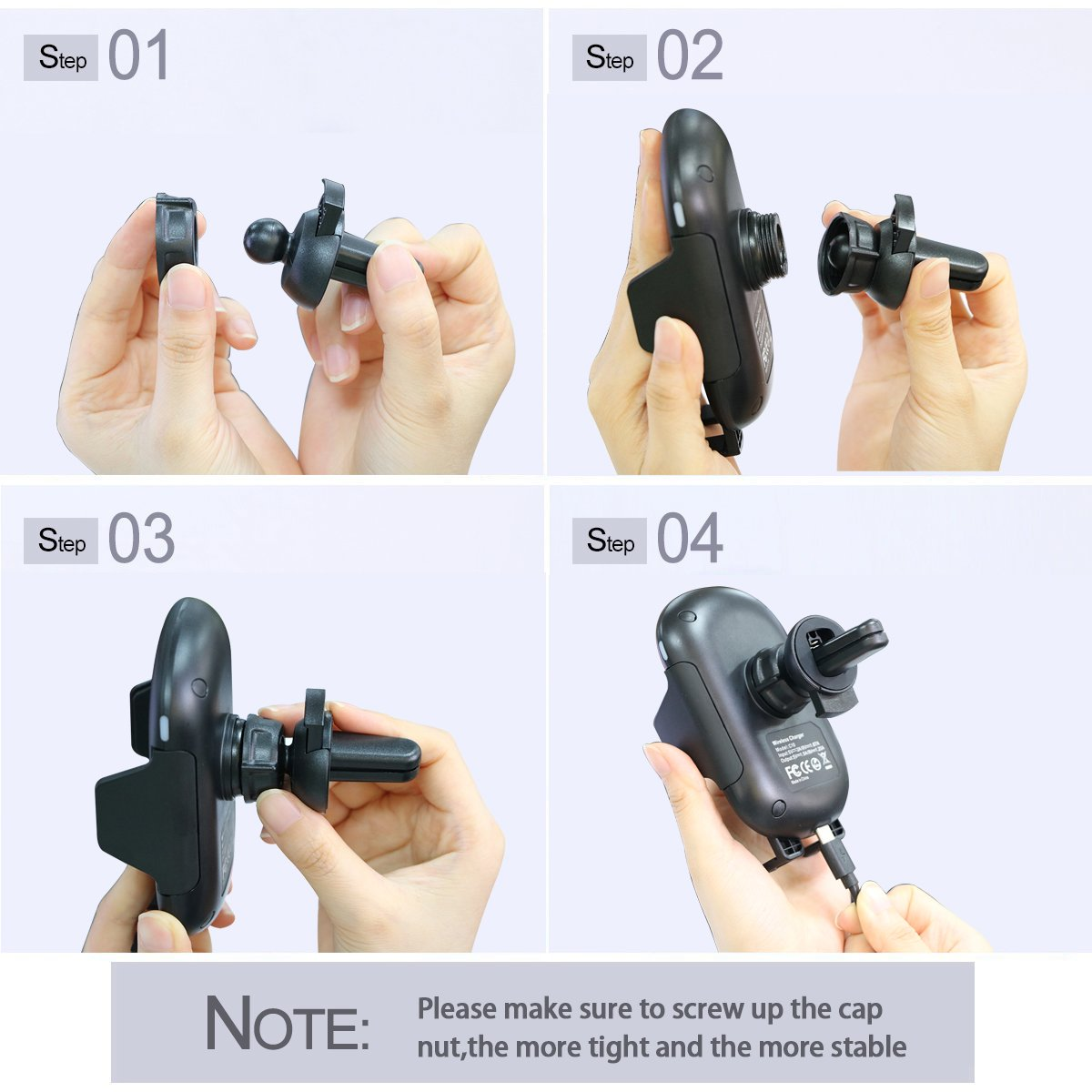 Automatic Induction Qi Fast Wireless Car Charger Stand Air Vent Phone Holder for iPhone X,8 Plus,8,Samsung Galaxy S9,S9 Plus,S8 Plus,S8,S7 Edge,S7,Note 8,Note 5 4351487330 HJSDtech Wireless Car Charger Mount
