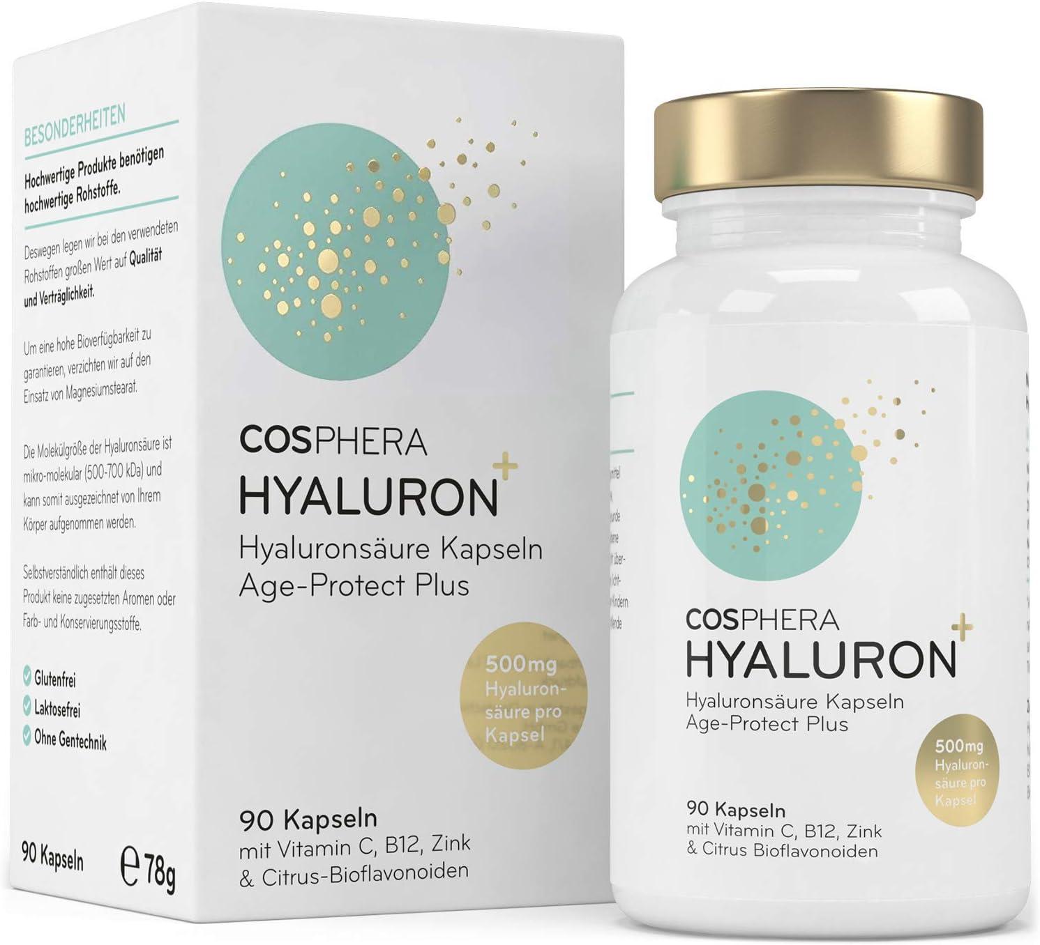 Cápsulas de Ácido Hialurónico - Dosis Alta con 500 mg, 90 Cápsulas pour 3 Meses - 500-700 kDa - Colágeno Vegano, Zinc, Vitamina C, B12 y ...