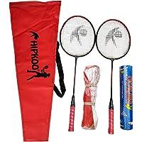 Hipkoo Sports HXBRSET_RDXSCOCKXNET Aluminum Full Badminton Kit (2 Racket, Pack of 10 Shuttlecocks and Net) Badminton Kit (Multicolour)