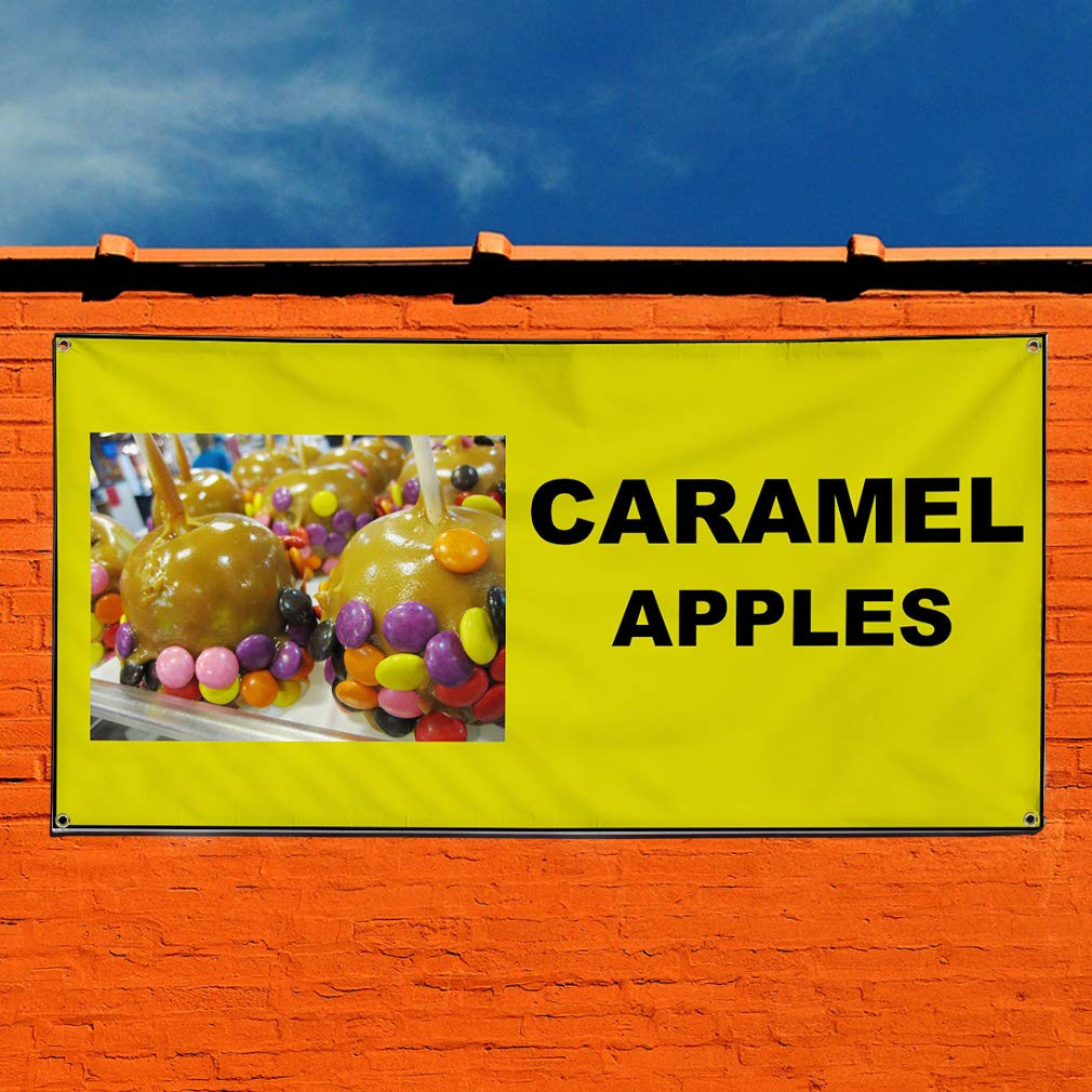 Vinyl Banner Sign Caramel Apples Green Brown Outdoor Marketing Advertising Olive-Green 24inx60in 4 Grommets Set of 3 Multiple Sizes Available