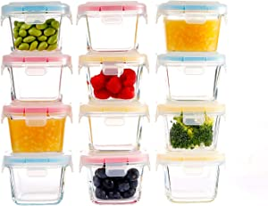 Doonmi - Glass Baby Food Storage Containers (5.4oz, 12-Pack), Small Containers with Airtight BPA - Free Locking Lids, Microwave, Dishwasher, Freezer Safe, Perfect for Infant & Babies.