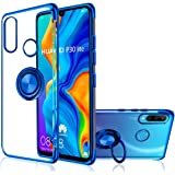 Huawei P30 Lite Case, [with 360° Ring Stand ] Crystal Clear [Electroplated Metal Technology] Silicone Soft TPU [Shockproof Protection] Ultra Thin Cover for Huawei P30Lite (P30 Lite, Blue)