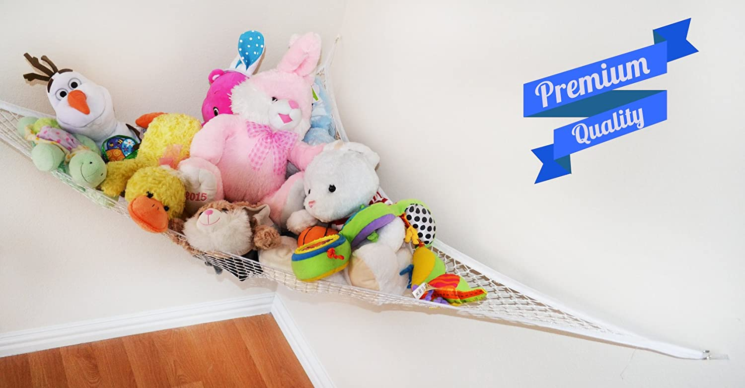Comes with Bonus Free E-Book Organized and Clutter-Free Toy Organizer Storage Net is Durable and Easy to Install Best for Keeping Rooms Clean Two Pack Stuffed Animal Toy Hammock