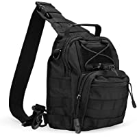 ProCase Tactical Sling Bag Pack with Pistol Holster, Military Army Shoulder Bag Satchel Backpack Outdoor Range Bag Daypack Backpack for Hunting, Camping and Trekking