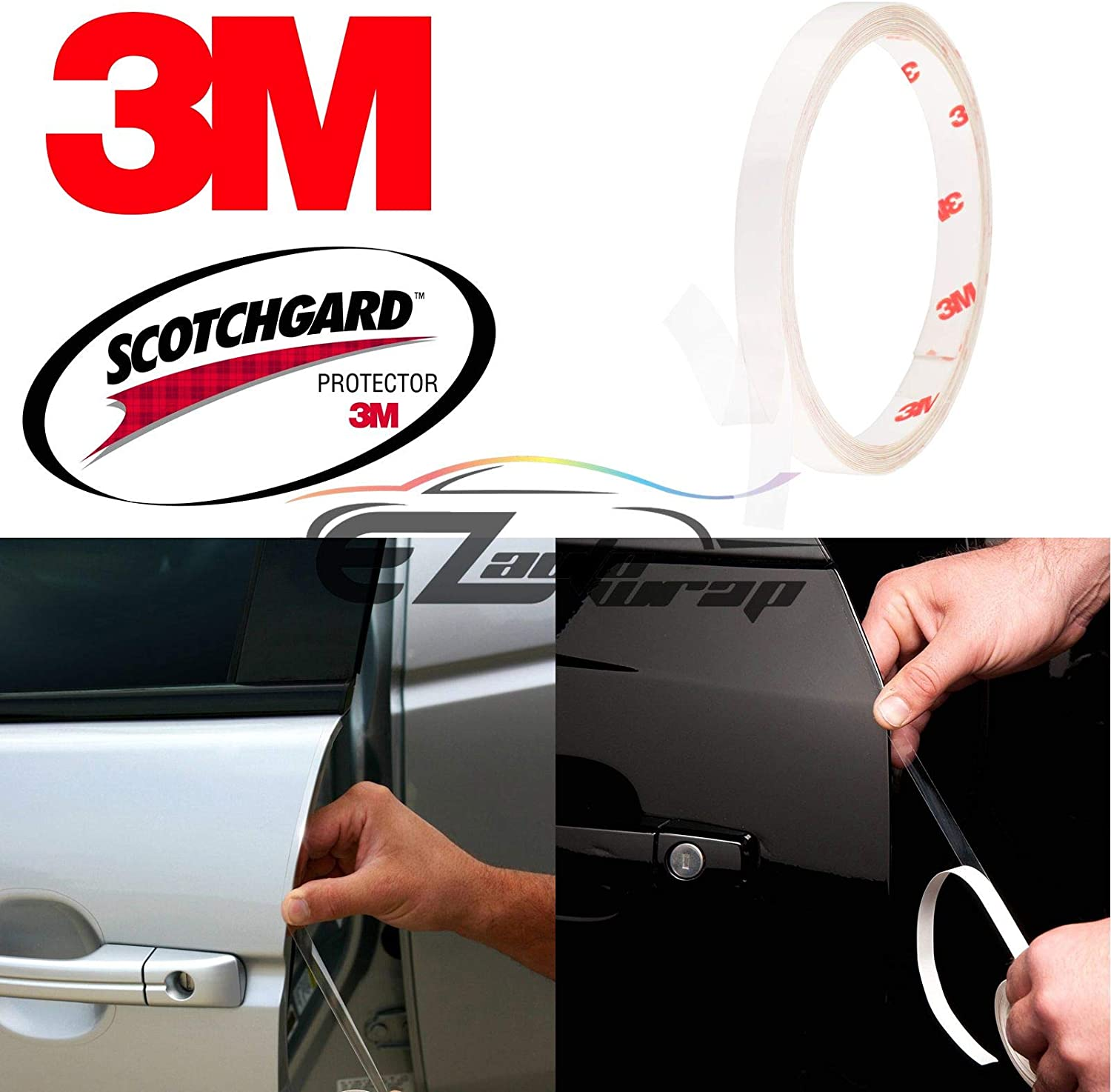 EZAUTOWRAP 120 3M Scotchguard Clear Door Edge Sealer Paint Scratch Protection Guard Film Bra Vinyl DIY Trim Stripe 0.4 Wide