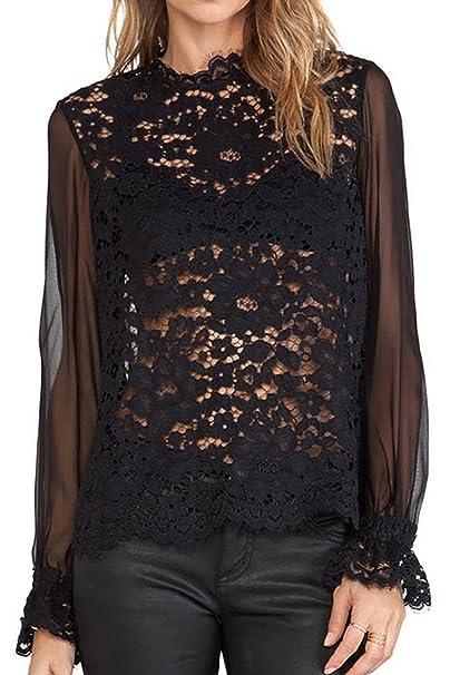 TOOGOO(R)Ropa femenina blusa de la gasa la manga vaporosa blusa de ganchillo