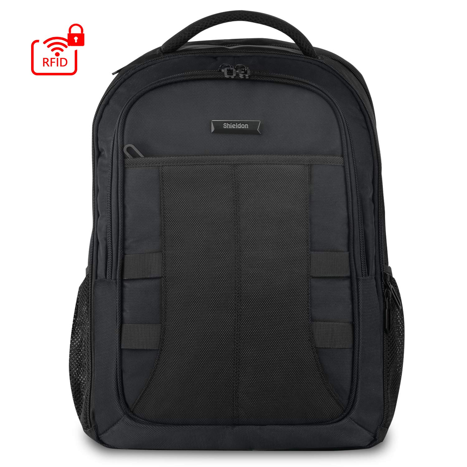 SHIELDON Travel Laptop Backpack, 15.6-inch Laptop Backpack, 27L Carry-on Backpack with RFID Pocket Anti-Theft Water Repellent Business Backpack Large Capacity Schoolbag for Men Women – Black