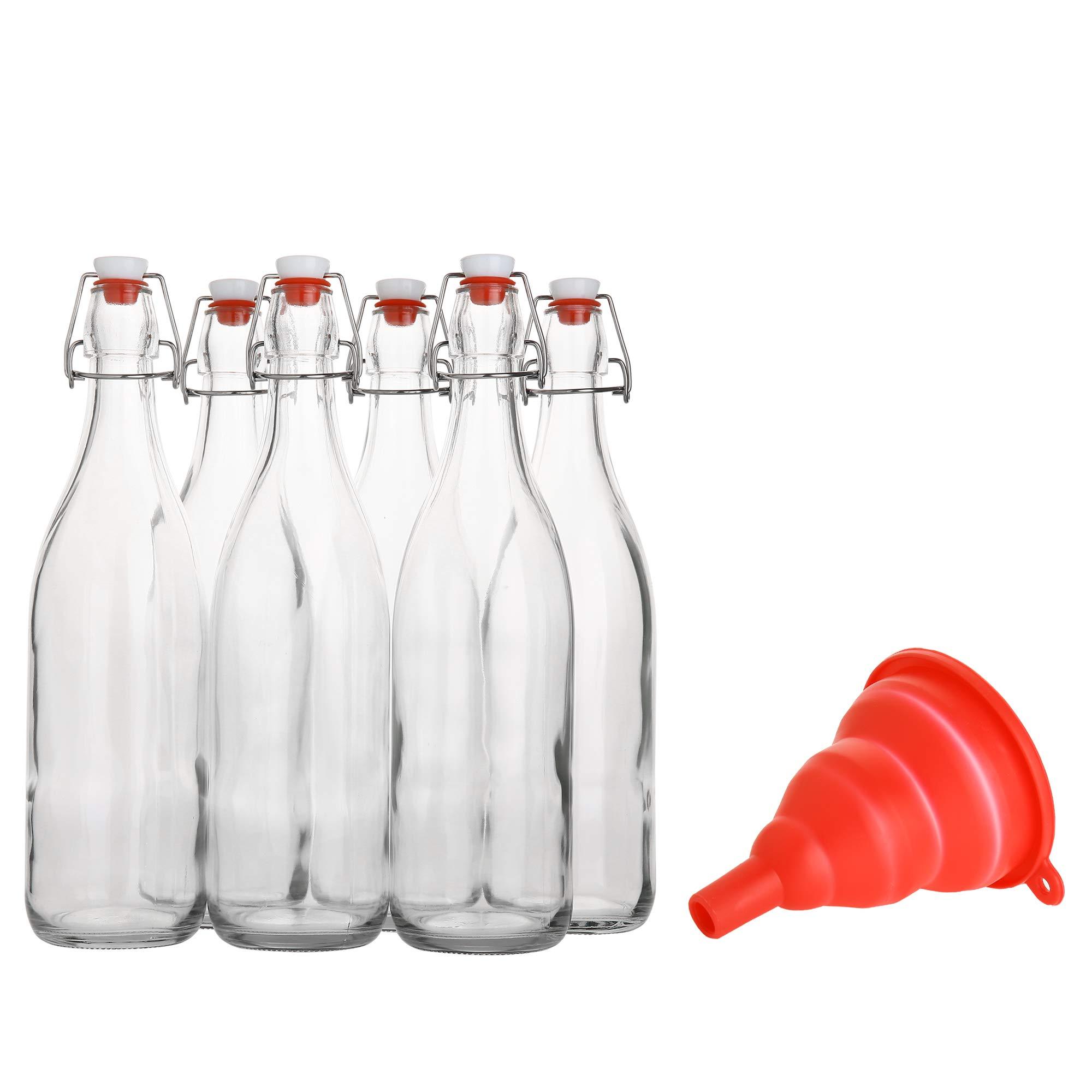 Flip Top Glass Bottle [1 Liter / 33 fl. oz.] [Pack of 6] - Swing Top Brewing Bottle with Stopper for Beverages, Oil, Vinegar, Kombucha, Beer, Water, Soda, Kefir - Airtight Lid & Leak Proof Cap - Clear by AYL