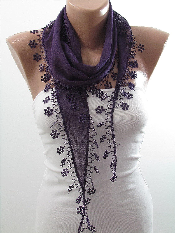 Cotton Lace Edge Scarf Shawl Purple Wedding Bridal Scarf | SCARFCLUB