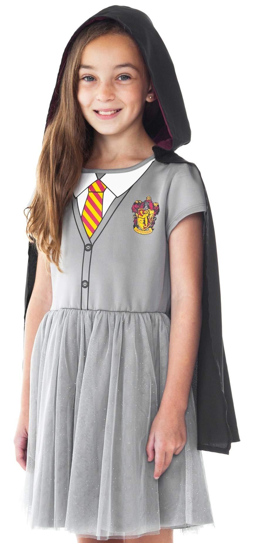 Harry Potter Girls Costume Dress Hogwarts Crest Cloak Gryffindor Tie (Large)