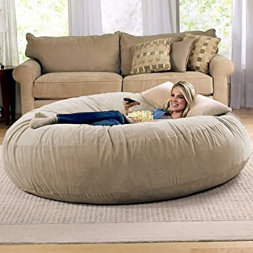 Great Jaxx 6 Foot Cocoon   Large Bean Bag Chair For Adults, Camel