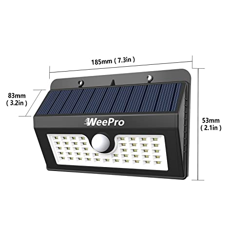 WeePro Lámpara Solar 45 LED Exterior (2 Pack) Impermeable, 3 Modos de Luz con Sensor de Movimiento, IP54, Foco Solar para Jardín, Piscina, Terraza, ...