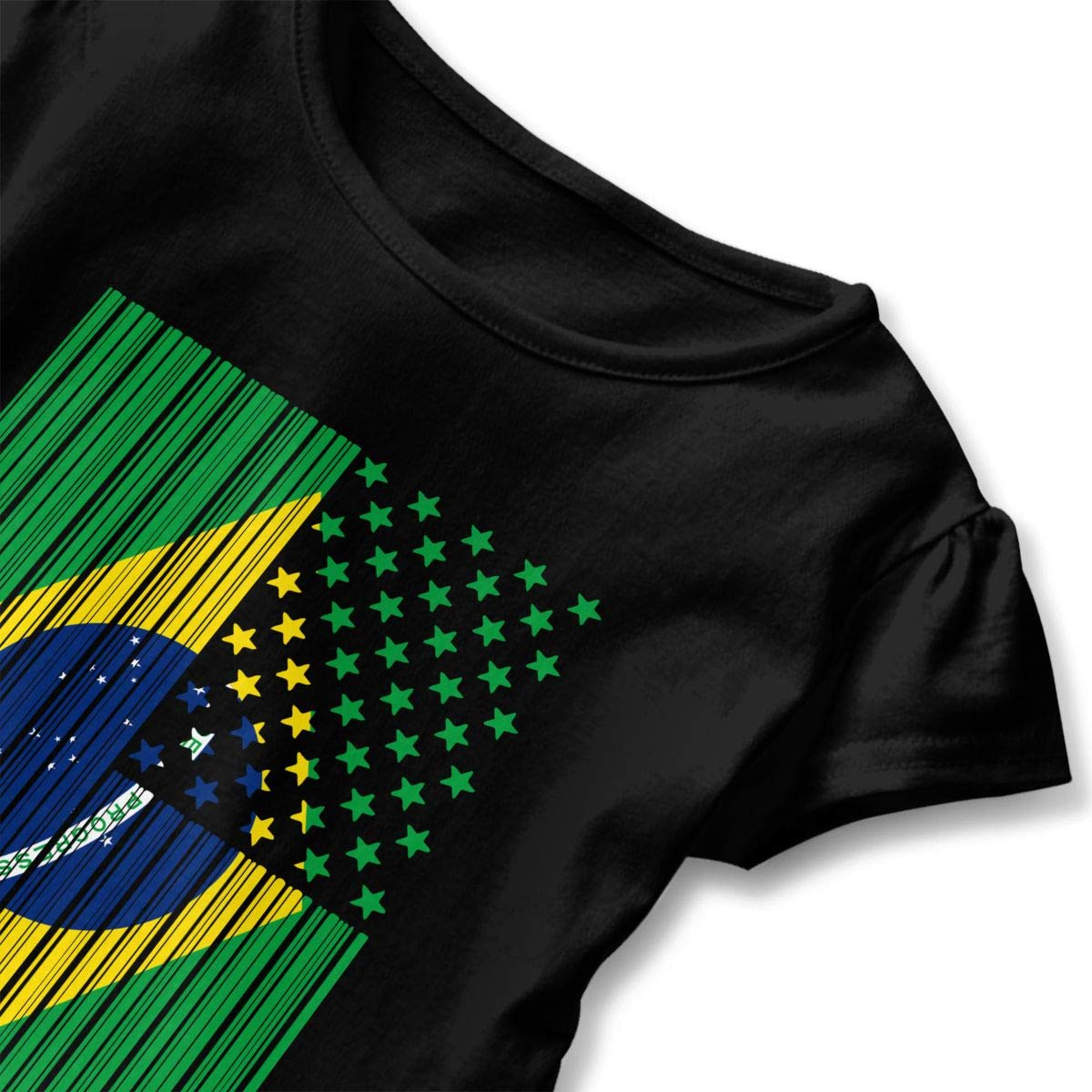 Bar Coded USA Brazil Flag Baby Girls Crew Neck Tshirts Dress