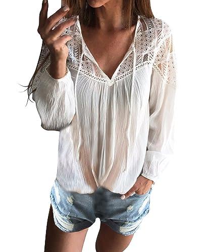 StyleDome Mujer Camiseta Blusa Mangas Largas Casual Elegante Encaje Croché Algodón Cuello Pico