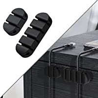 Cable Clips, Cord Management Organizer Wire Holder 2 Pack Self Adhesive for Car, Office and Home (6 Slot+4 Slot) (Black)