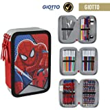 Spiderman 2700-200 Filled Pencil Case Triple, 3 Compartments, markers, crayons, Accessories School 42 Pieces, Polyester, Multi-Colour