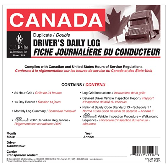 J J  Keller 12911 Canadian Driver's Daily Log Book: Amazon