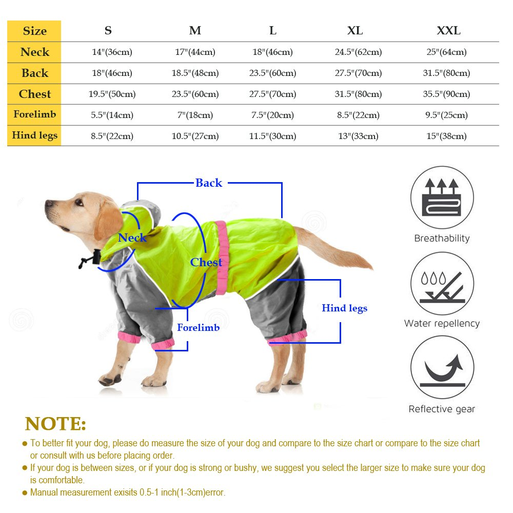 Reflective Waterproof Dog Raincoat - Lightweight and Breathable Hooded Rainwear for Medium Large Dogs - Green,31.5'' Back 35.5'' Chest for 2X-Large Dogs by Beirui (Image #8)