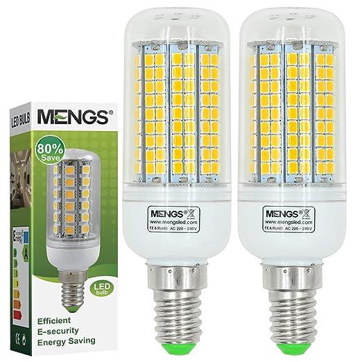 MENGS® Pack de 2 Bombilla lámpara LED 15 Watt E14, 180x2835 SMD Con placa de aluminio, blanca cálida 3000K, AC 220-240