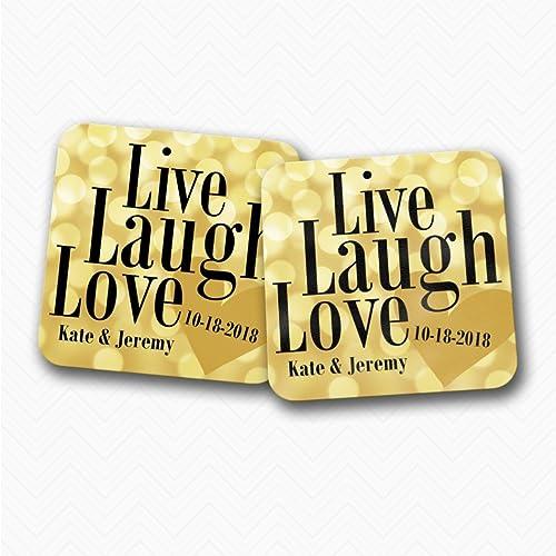 Live Laugh Love Paper Wedding Favor Coasters