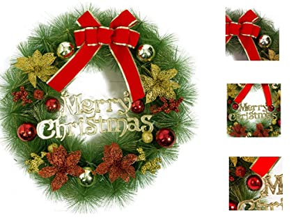 aingycy christmas wreath christmas decorations artificial pine needles red bowknot berries bells house door wall hang