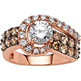 round white and chocolate cubic zirconia rose gold plated sterling silver swirl ring - Chocolate Wedding Rings