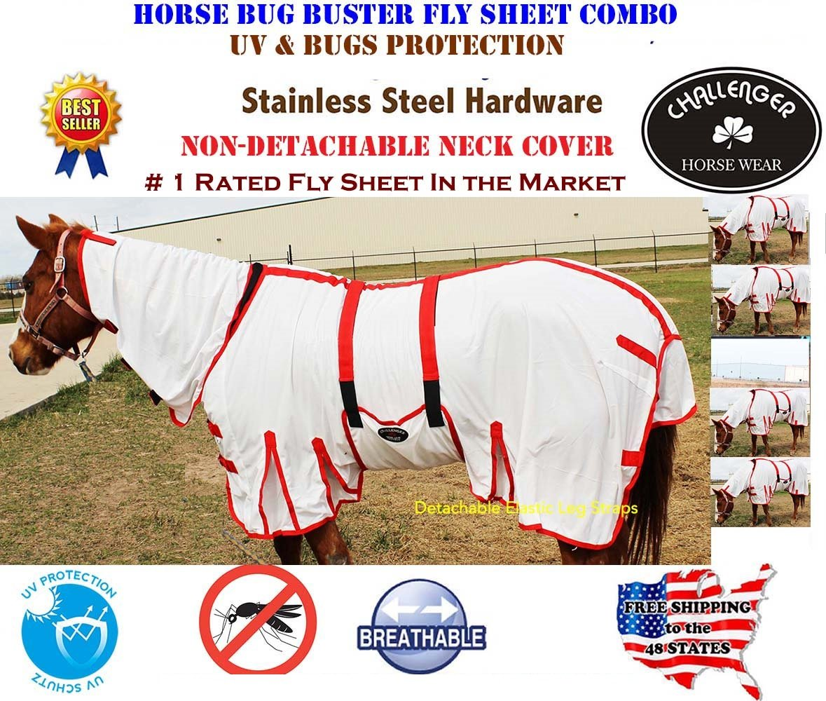 CHALLENGER 76'' Horse Bug Mosquito Fly Sheet Summer Spring Airflow Mesh UV Neck White 73139 by CHALLENGER