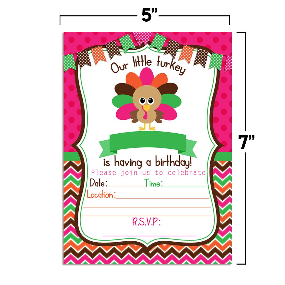 Little Turkey Girl Birthday Party Invitations 20 5x7 Fill in Cards with Twenty White Envelopes by AmandaCreation Great for Birthdays Around Thanksgiving