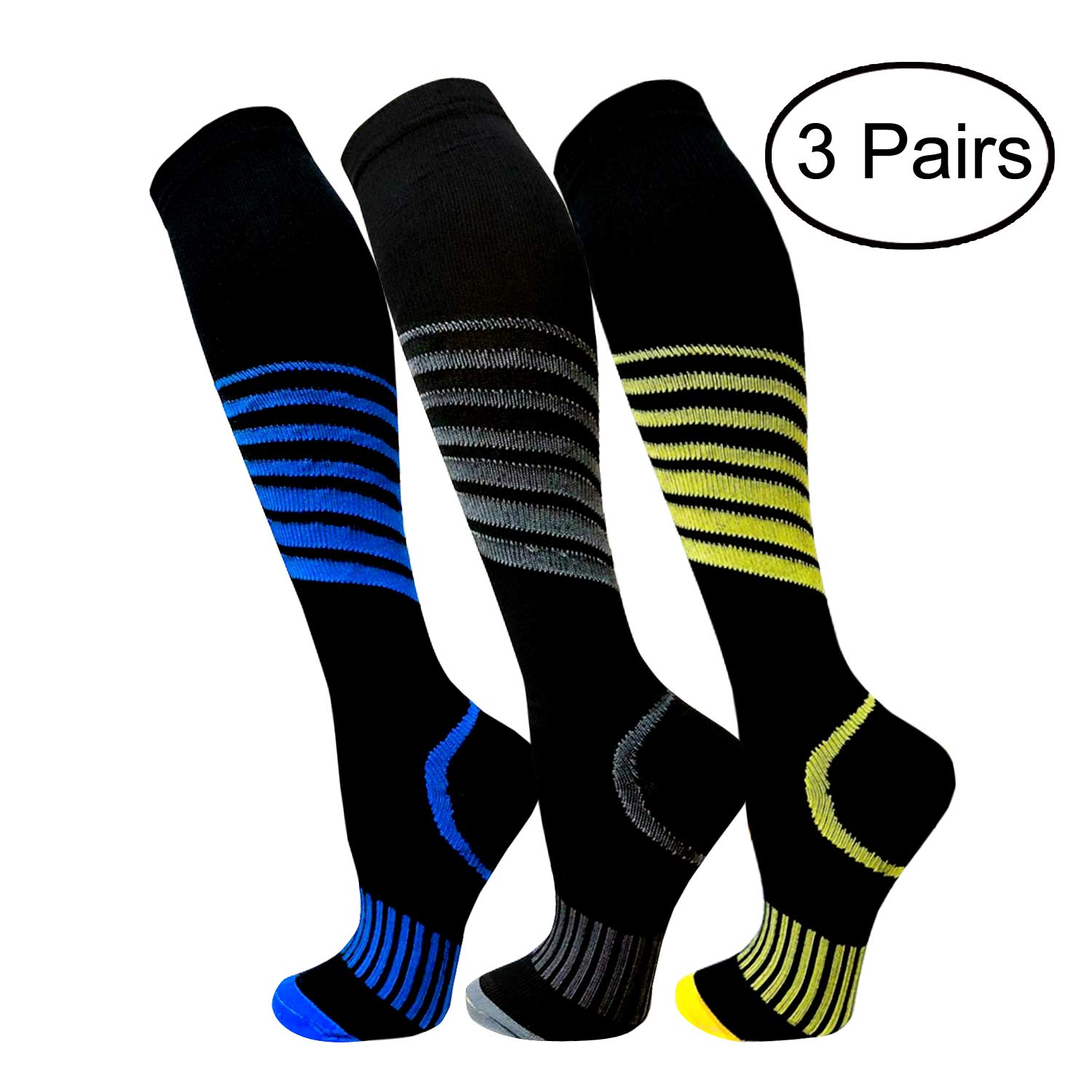 Copper Compression Socks For Men & Women(3 Pairs)- Best For Running,Athletic,Medical,Pregnancy and Travel -15-20mmHg (S/M, Multicoloured 12)