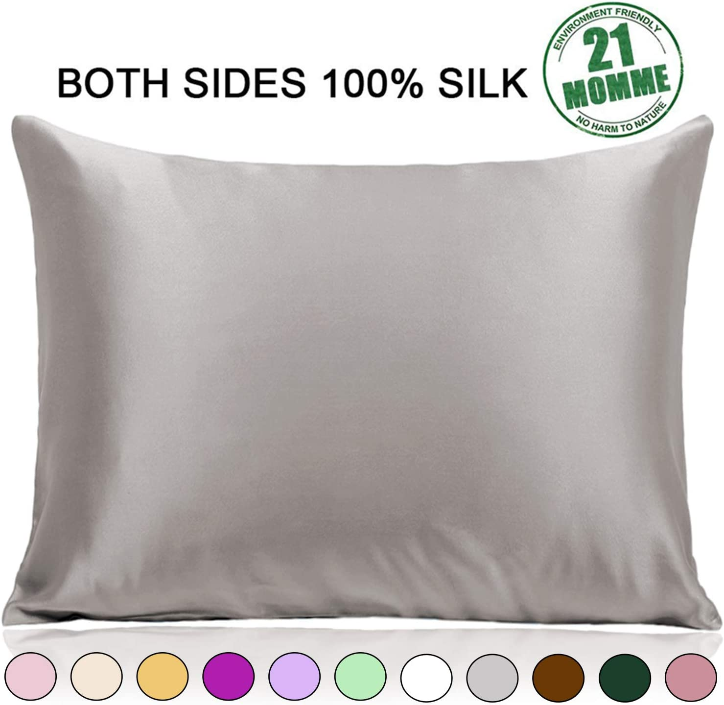 Ravmix 100% Pure Silk Pillowcase Standard Size For Hair And Skin With Hidden Zipper - Both Sides 21 Momme 600tc Hypoallergenic Mulberry Silk, 20×26 Inches, 1pcs, Apricot Gray Home & Kitchen