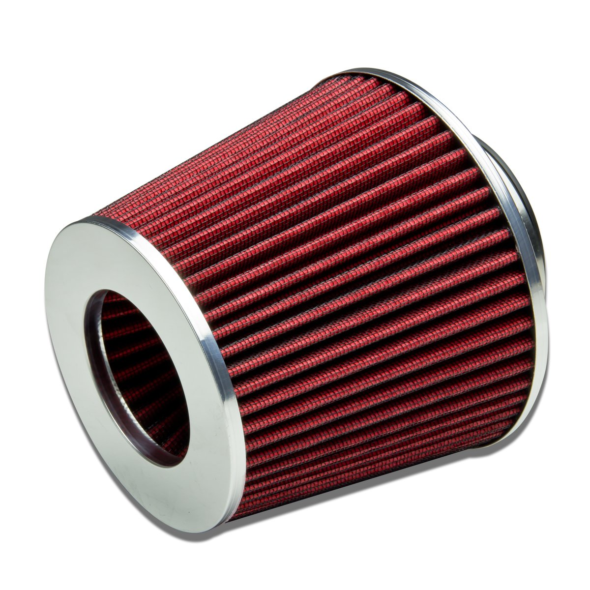 """3"""" Inlet x 6.3"""" Air Intake Chrome Open Top Cone Air Filter (Red)"""