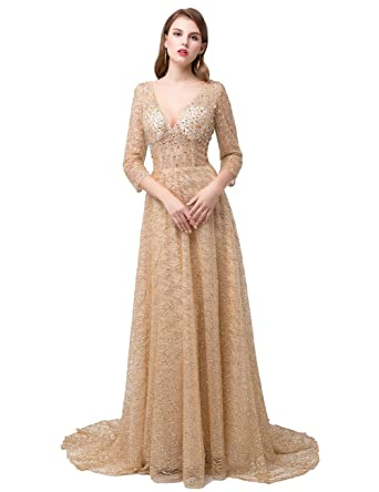 JAEDEN Formal Evening Dresses With Long Sleeve Beading Luxury Prom Party Gown Crystal Champagne US 2