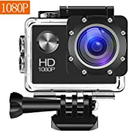 Action Camera, 12MP 1080P 2 Inch LCD Screen, Waterproof Sports Cam 120 Degree Wide Angle Lens, 30m Sport Camera DV Camcorder With with 2 Rechargeable Batteries