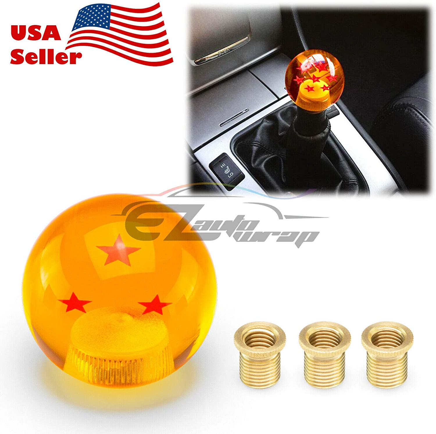 EZAUTOWRAP Universal Blue Dragon Ball Z 3 Star 54mm Shift Knob with Adapters Will Fit Most Cars