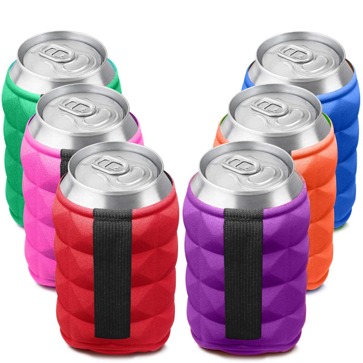 SUPER SOFT Beer Can Cooler Sleeves for Ice Cold Drink, Reversible Double Sided Embossed Design - 6 Pack Collapsible Insulated Soda Bottle Holder Premium Quality Many Color Party Huggies by Metric USA