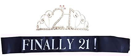 21 Birthday Sash and Crown - Set of 2 Finally 21 Sash and Tiara for the  21st Birthday Girl